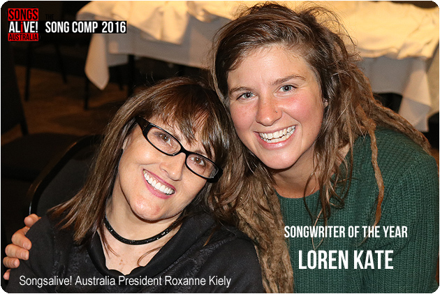Songsalive! Australia Songwriter of the Year 2016 Loren Kate pictured with Songsalive! Australia President Roxanne Kiely